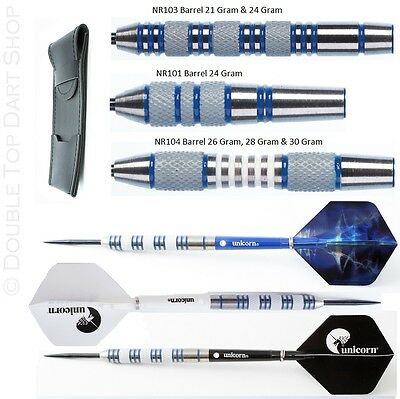Nodor Blue Jays 85% Tungsten Darts + Unicorn Flights + Stems + Wallet - 21g-30g