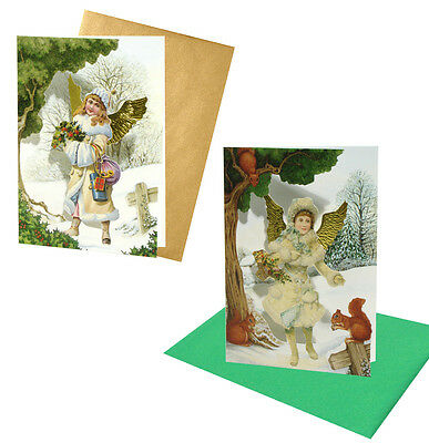 18 Victorian Angel Christmas Cards with Fold-back Gold Embossed Wings XC0042