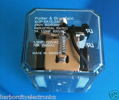 Kup-5A15-240 Potter & Brumfield Power Relay Spdt 240Vac 10A Plug In