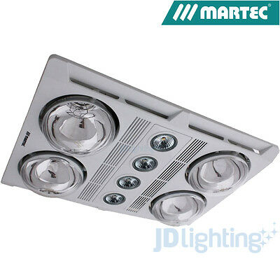 Martec Profile Plus 4 White Led 3 In 1 Bathroom Heater Exhaust Fan Light Mbhp4Lw