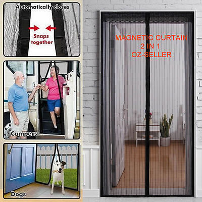 Fly Screen Mosquito Bug Door Magic Magna Mesh Magnetic Curtain Black colour