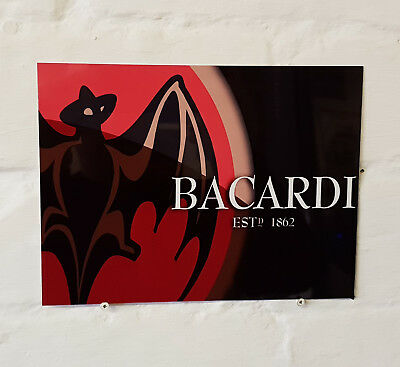 Bacardi White Rum Retro metal Aluminium Sign vintag bar pub man cave beer signs