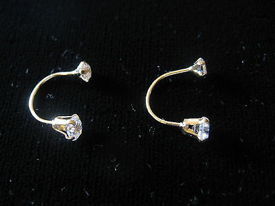 Piercing Screw Back Ear, Lip, Eyebrow Rings with Stones 14K Gold Telephone Style