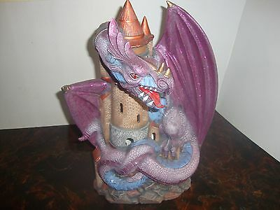 "Dragon & Castle---Ceramic---Hand Painted---16"" Tall---Weighs Over 6 Pounds"
