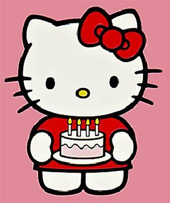 HELLO KITTY CAKE n CANDLES TOPPER-EDIBLE RICE PAPER+CHOICES+PERSONALISED FREE!!