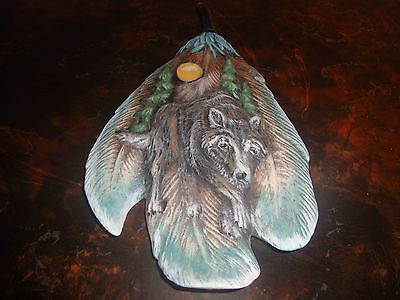 """Wolf Feather---Ceramic---Hand Painted---12"""" Tall"""
