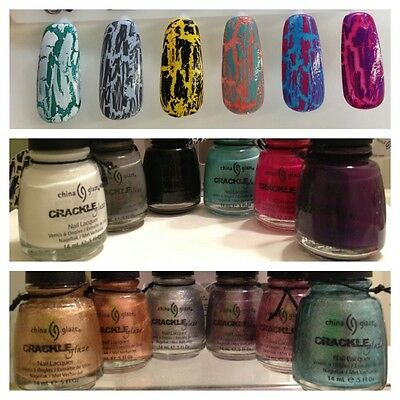 CHINA GLAZE CRACKLE SHATTER NAIL POLISH CRACKLE GLAZE COLLECTION ALL COLORS!!