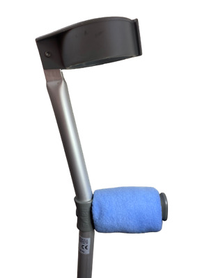 Crutch Handle Padded Covers HIGH QUALITY Cushioned Foam Pad - Blue Fleece