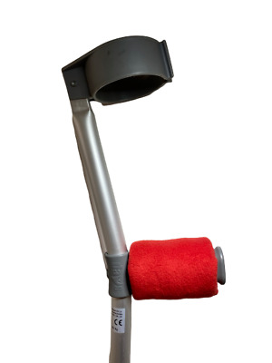 Crutch Handle Padded Covers HIGH QUALITY Cushioned Foam Pad - Red Fleece