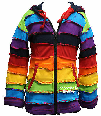Multi color  Kids Cotton Hooded Jacket With Pixie Hood,Hippy Trend Clothing,Boho