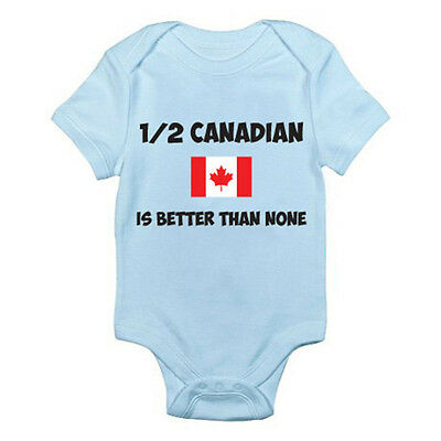 1/2 CANADIAN IS BETTER THAN NONE - Canada / Maple Leaf Themed Baby Grow/Suit