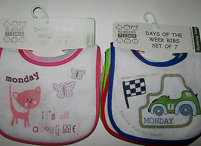 Nursery Time 7 Day Pack Of Cotton Bibs With Waterproof Backing  Girls Or Boys