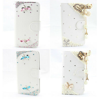 1x HOT 3D bling leather wallet card flip diamond case cover FOR samsung Apple