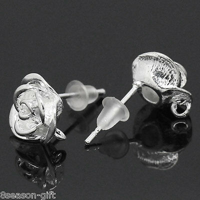 """10 PCs Copper Earring Post Flower Silver Plated 18mmx10mm(6/8""""x3/8"""")"""