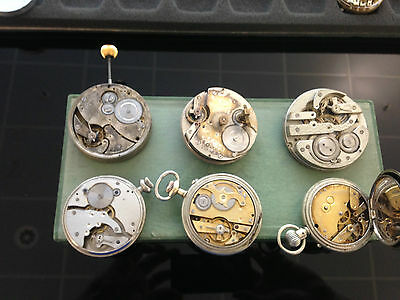 Lot of 6 big pocket watch movements in working conditions