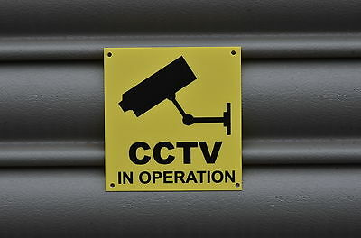 CCTV In Operation Warning Security Home Property Yellow Sign Sticker 100mmx90mm