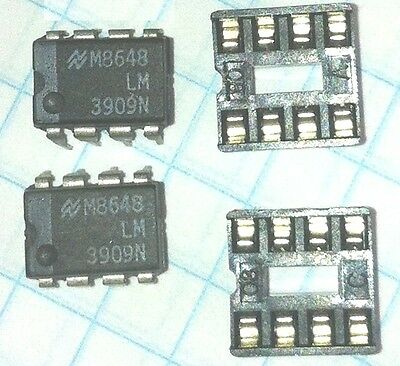 5 x LM 3909N DIP-8 LED Flasher / Oscillator with Sockets IC - USA Seller