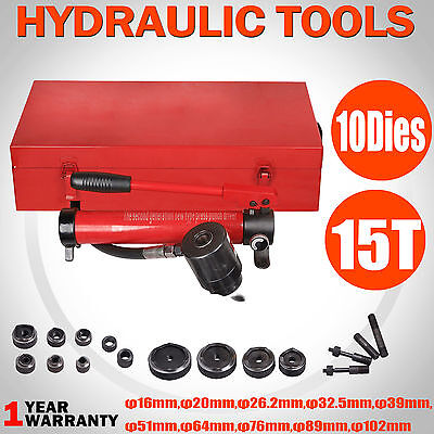 10 Dies 15 Ton Industry Metal Hydraulic Hole Punch Knockout Kit 16-102mm