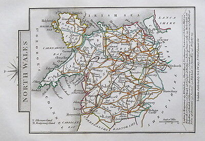 NORTH WALES 1828 Miniature Antique Map by Cary Hand Coloured