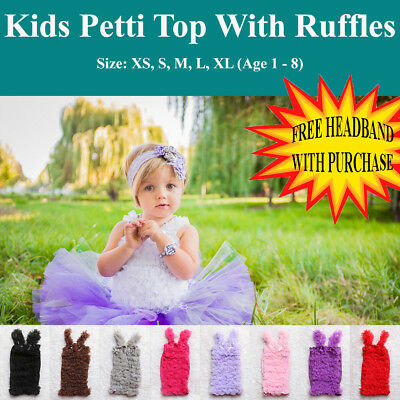Baby Toddler Child Kids Chiffron Fluffy Tube Pettitop Ruffled Tutu Tops 1-7 yrs