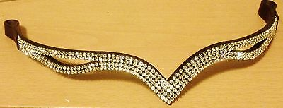 """New Designer Ve Clear Crystal Browband full Size -16"""" (Brown) * Great gift idea"""
