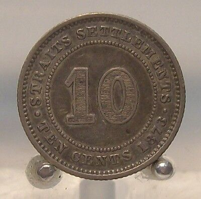 1873 Straits Settlements Silver 10 Cents, Old World Silver Coin, Better Date