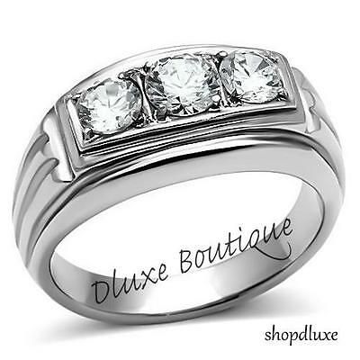 Men's Round Cut Cubic Zirconia Silver Stainless Steel 316 Ring Size 8-13
