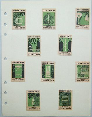 10 Czechoslovakian Match Box Labels Forestry Lesnim Zavodum