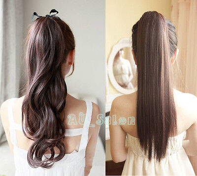 """22"""" WRAP-AROUND PONYTAIL Hair Extension Sexy Long Piece Clip In Women Lady HAIR"""