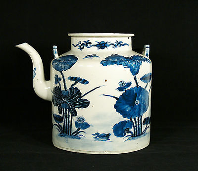 Antique Chinese Blue & White Porcelain  Teapot
