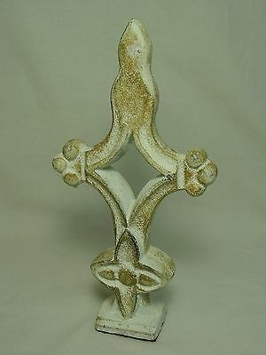Vtg Cast Iron Finial Cross Doorstop Bookend Metal Garden Yard Art India Indian