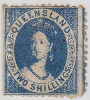 (RJ102) 1868 QLD 2/- blue small Chalon double printed