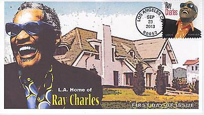 Jvc Cachets - 2013 Ray Charles First Day Cover Fdc - Los Angeles, Ca Cancel #1