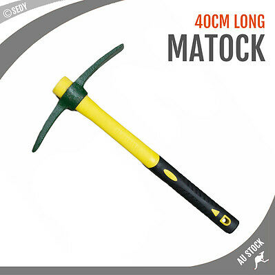"BRAND NEW 16"" 40cm Mattock Point Hoe Fiberglass Handle Garden Farming Camping"