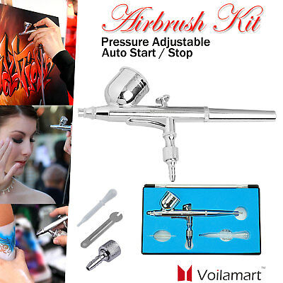 Dual Action Airbrush Gravity 0.2mm Air Brush Spray Gun 7cc Ink Cup Paint Set Kit
