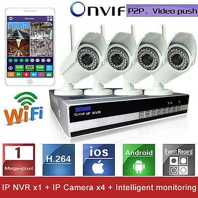 4CH Wifi H.264 WaterProof Wireless IP Camera CCTV DVR NVR Night Security System