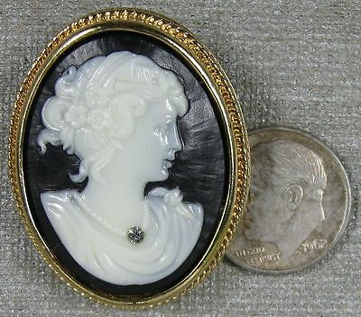 Vintage Pin~Goldtone Nice Lady Cameo With Rhinestone Avon