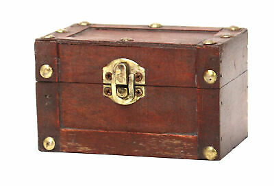 New Vintiquewise Antique Style Wooden Small Mini Trunk, QI003005