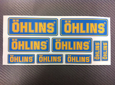 Kit 9 Adesivi Sticker OHLINS blu & yellow