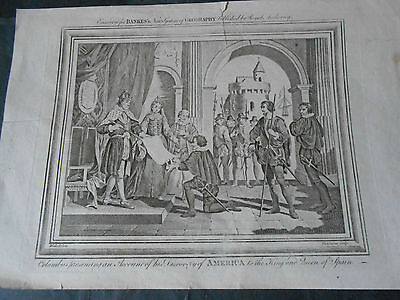1794 COPPER ENGRAVED BANKES COLUMBUS PRESENTING DISCOVERY OF AMERICA TO KING