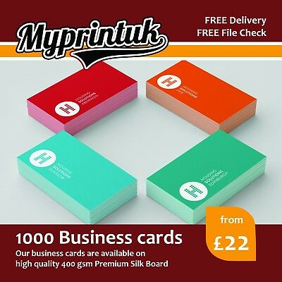 1000 Business Cards - 400gsm Premium Silk Artboard - DOUBLE SIDED