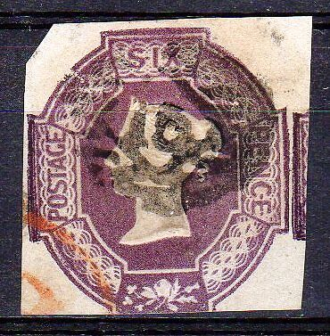 Sg59,  6d lilac  EMBOSSED, CUT SQUARE, Fine Used. Cat £1000.
