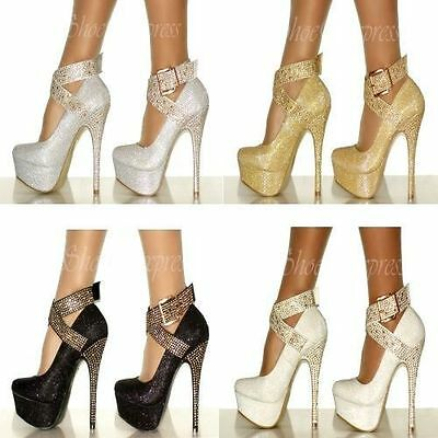 Womens Ladies New High Heel Shoes Diamante Ankle Strap Sparkly Court Shoes Size