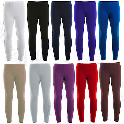 Kids Girls Ankle Length Stretch Fit Cotton Leggings Age 2-15 Years