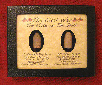 Original Civil War Bullets in Matted Display Case  North vs South  .58 & Enfield