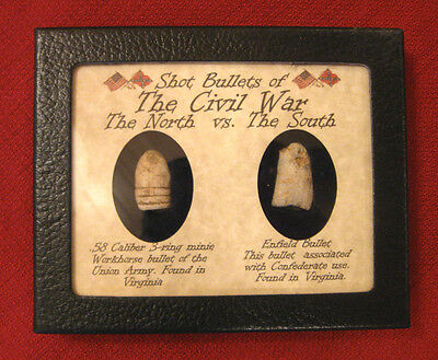 North vs South Original Fired Bullets in Display Case  .58 & Enfield with COA