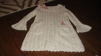 Hanna Andersson 110 Gorgeous Cable Knit Swetaer Dress W Flowers