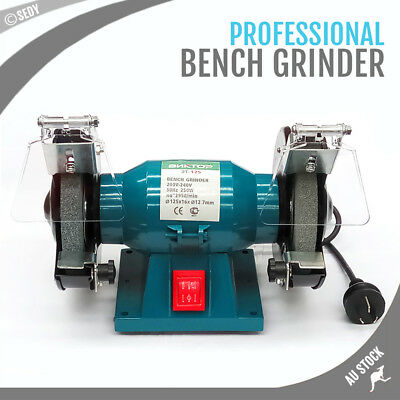 """125mm 5"""" Royce Bench Grinder COARSE/FINE Grinding Double Wheeled Polisher New"""