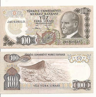 TURKEY 10 LIRA P193 1970 ATATURK MEDALLION FLOWER UNC TURKISH MONEY BANK NOTE