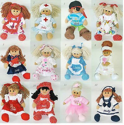 Personalised Rag Doll 19cm Miniature Birthday,Christmas,Bridesmaid Dolls 1 Name
